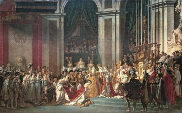 """""""Sacre de l'Empereur Napoleon Ier et Couronnement de l'Imperatrice Josephine a Notre-Dame le 2 decembre 1804"""" Peinture de Jacques Louis David (1748-1825), 1806, Dim. 6,21x9,79 m - Paris, musee du Louvre --- The consecration of the Emperor Napoleon I (1769-1821) and Coronation of the Empress Josephine (1763-1814), in Notre Dame cathedral, 2nd December 1804- Painting by Jacques Louis David (1748-1825), oil on canvas (621x979 cm), 1806 - Musee du Louvre, Paris, France ©Photo Josse/Leemage"""